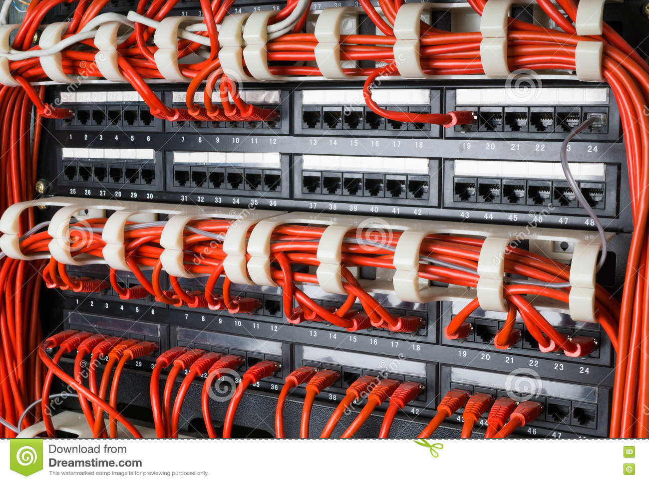 Rows Of Network Cables Connected To Router And Switch Hub Stock Internet Jack Wiring Red In Server Room At Data Center