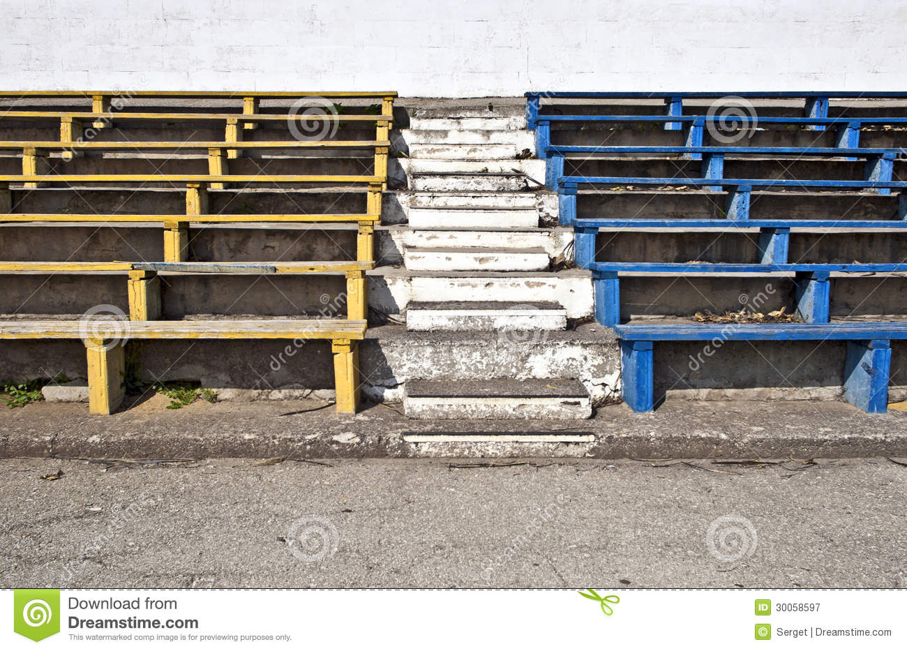 Old stadium benches