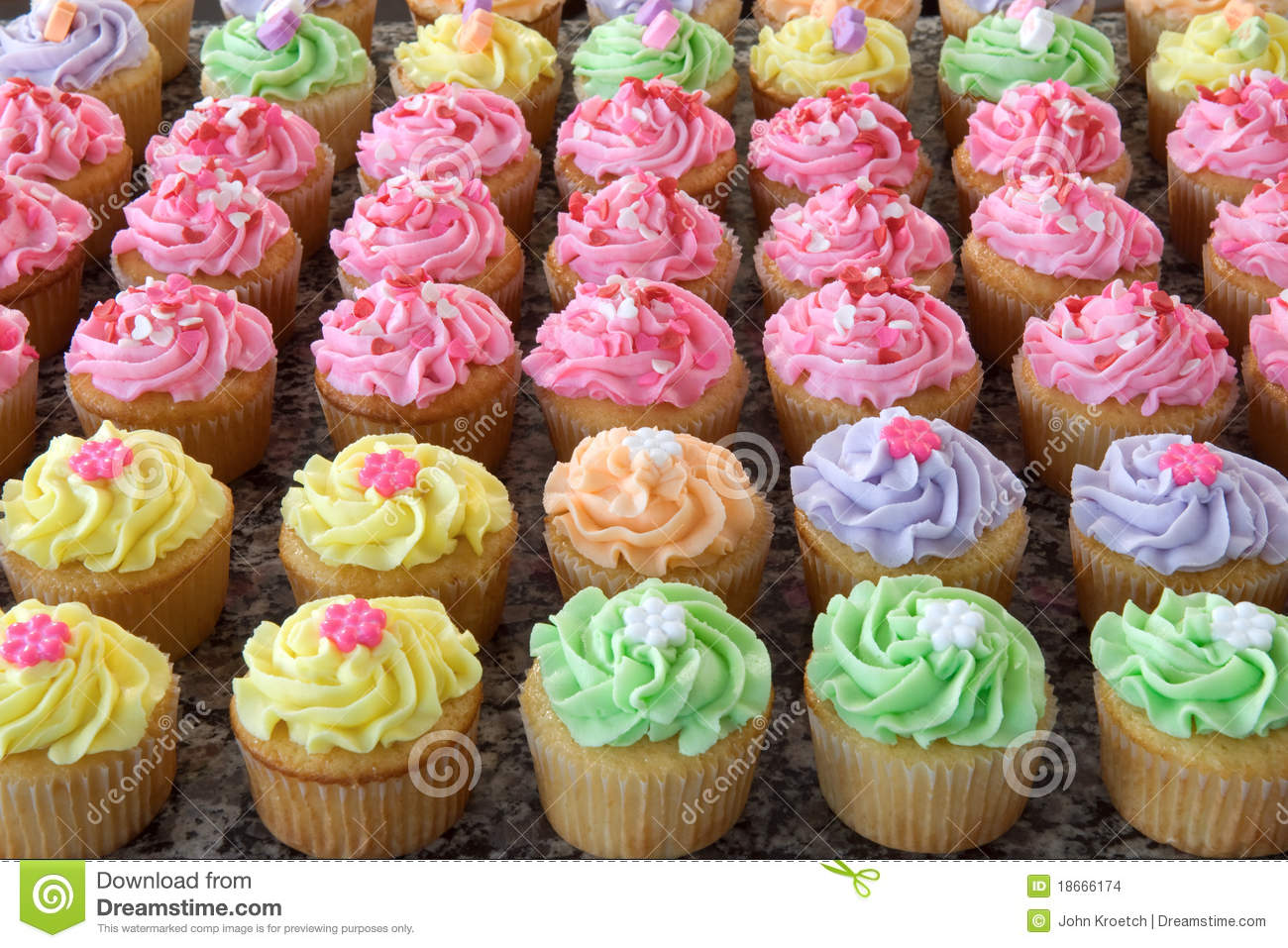 Rows of Pastel-Colored Cupcakes