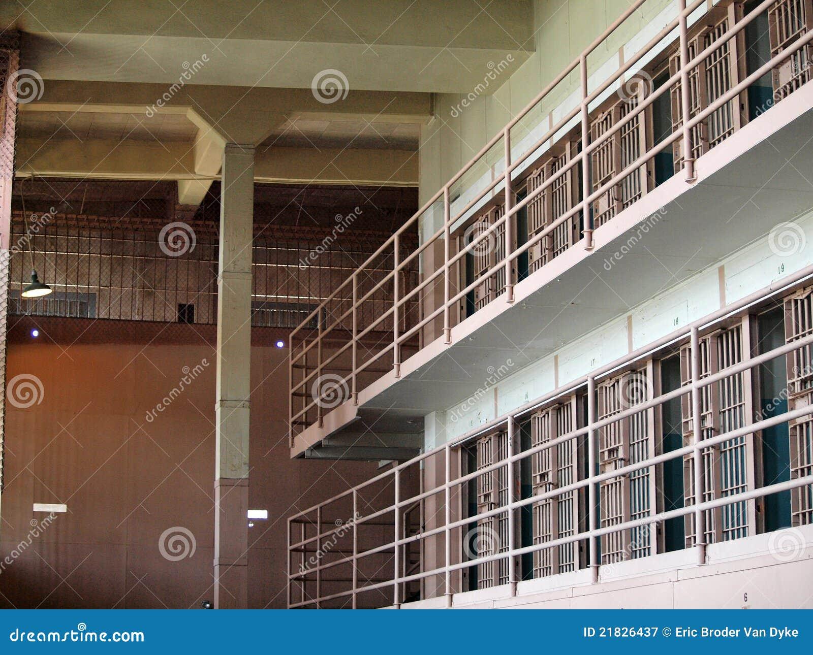 Rows of prison cells inside alcatraz prison stock image for Binnen interieur