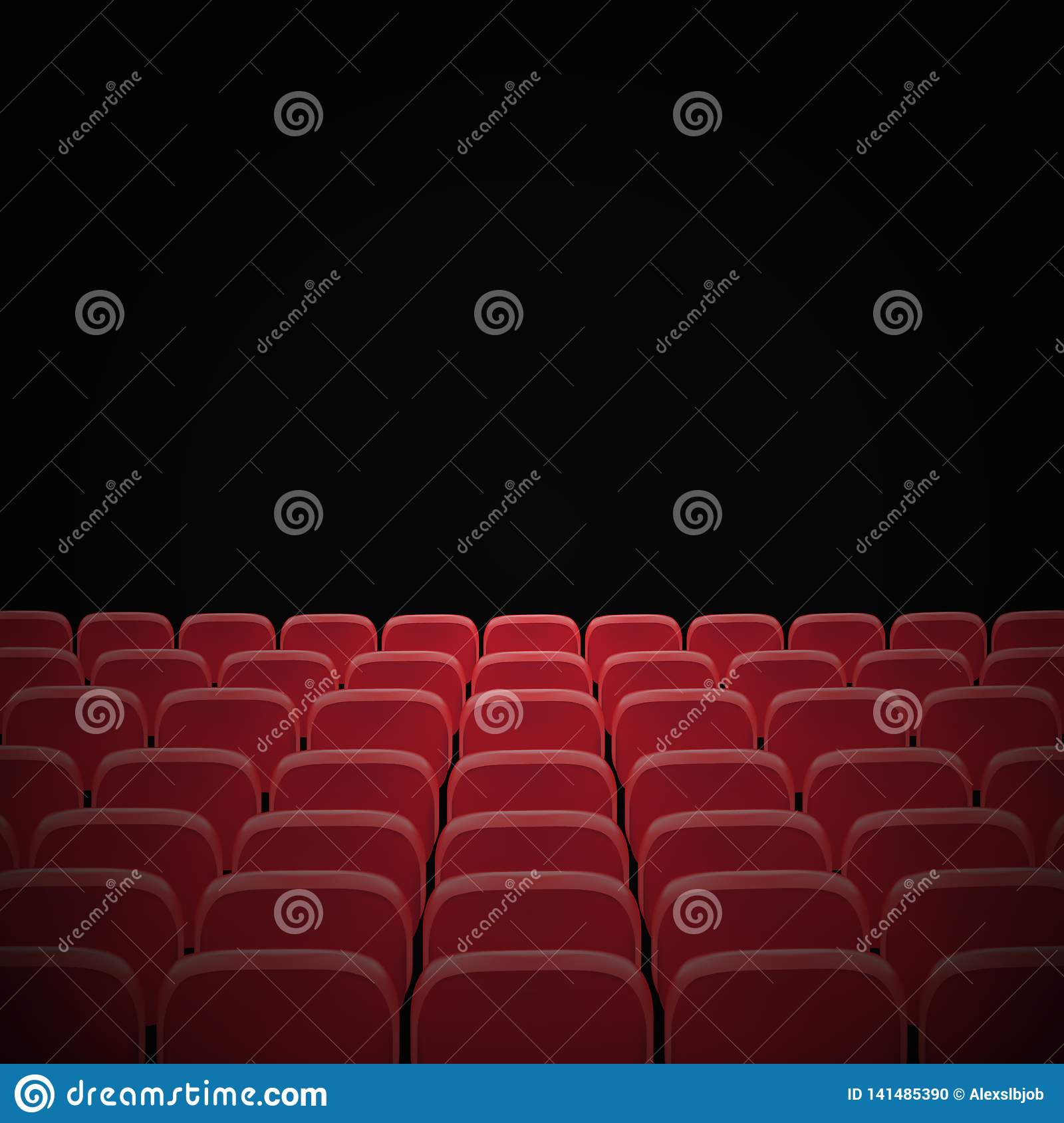 Rows Of Red Cinema Or Theater Seats In Front Of Black Blank Screen Wide Empty Movie Theater Auditorium With Red Seats Vector Stock Illustration Illustration Of Nobody Cinema 141485390