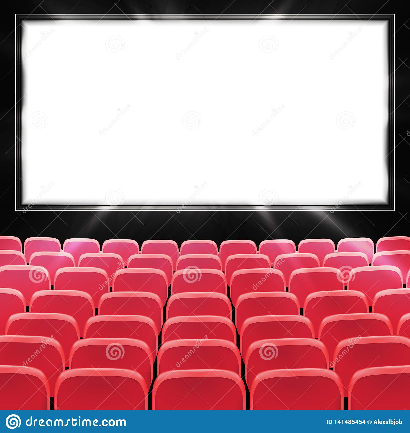 Rows Of Red Cinema Or Theater Seats In Front Of Black Blank Screen Wide Empty Movie Theater Auditorium With Red Seats Vector Stock Illustration Illustration Of Empty Concert 141485454