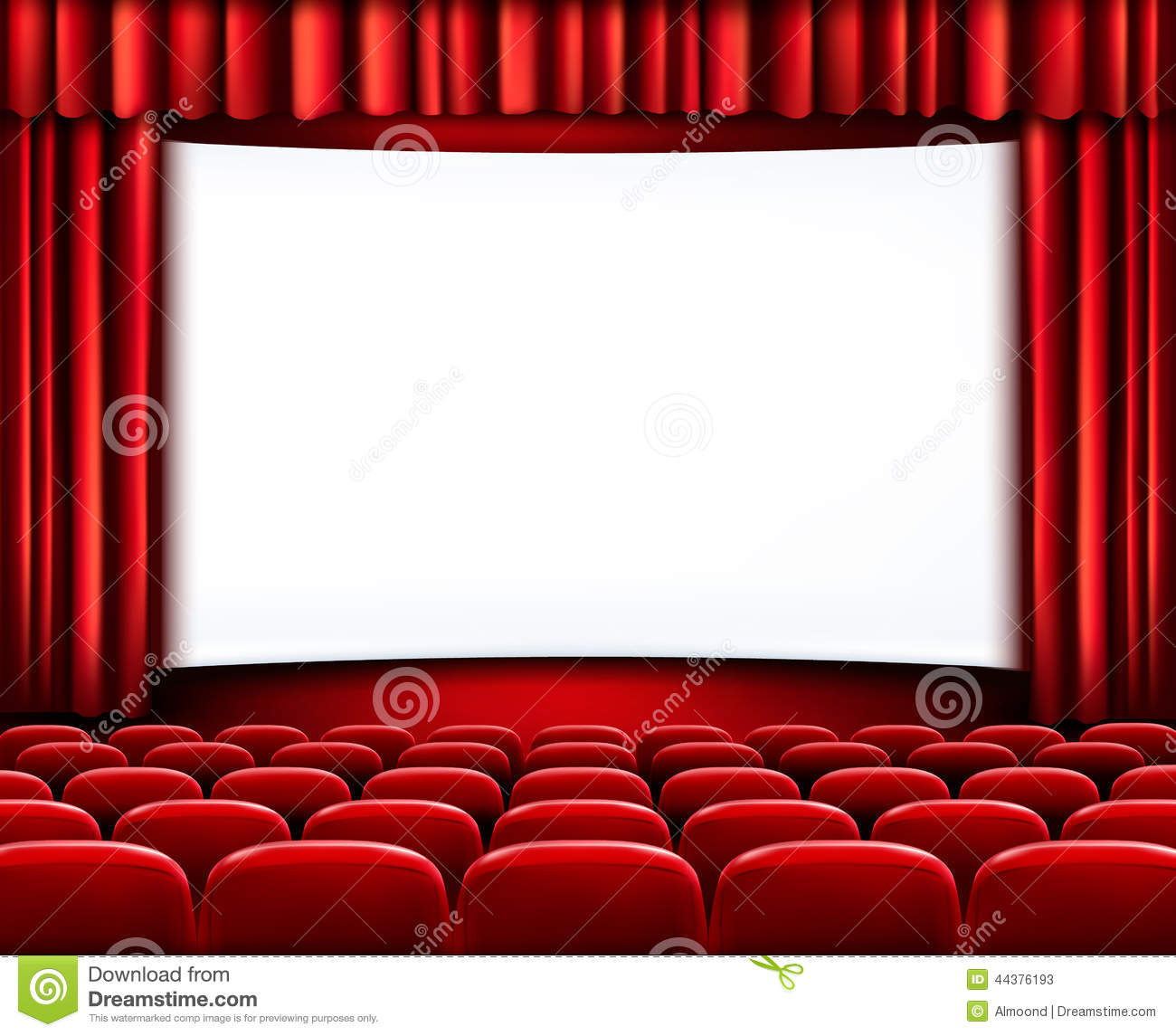 rows of red cinema or theater seats stock vector image