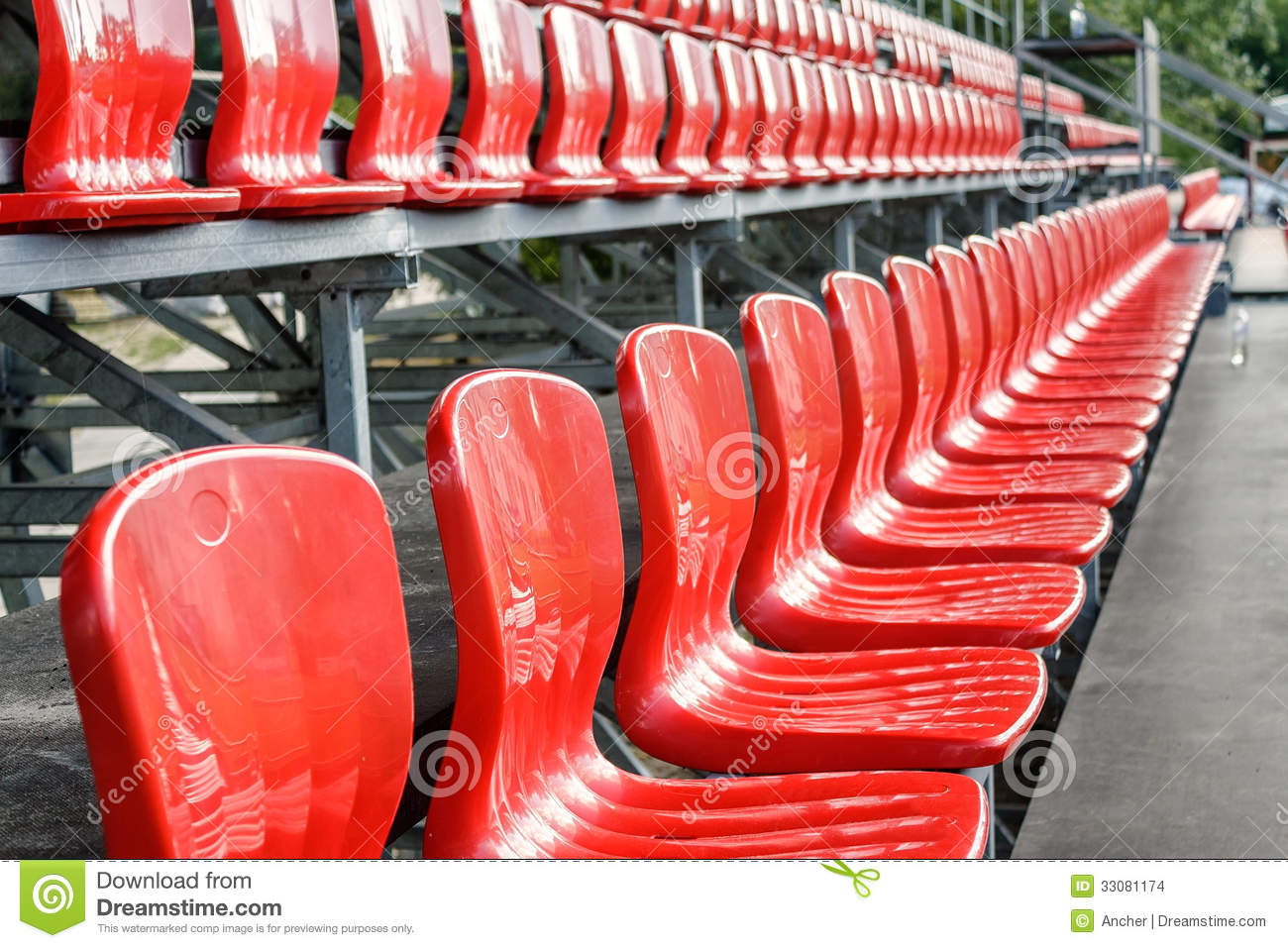 Rows Of Red Mini Football Stadium Seats Stock Images