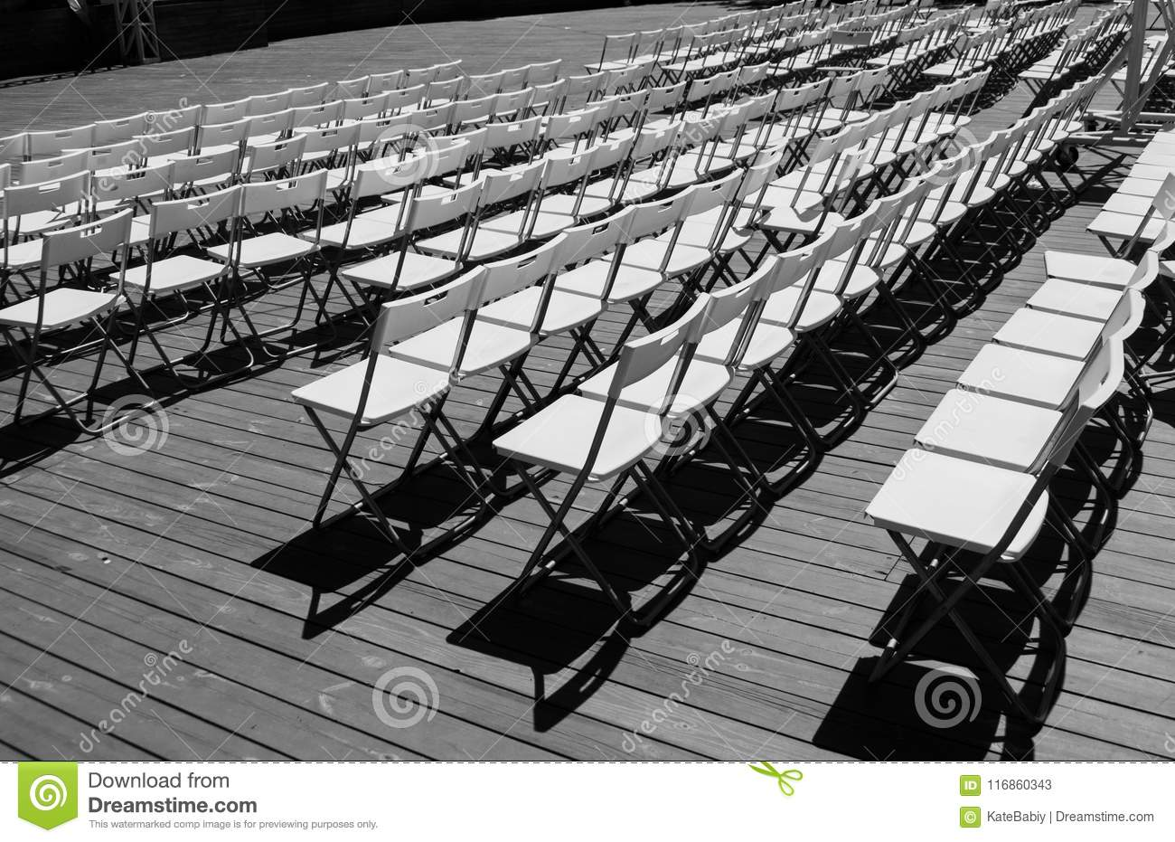 Pleasant Rows Of The White Chairs Stock Image Image Of Identical Caraccident5 Cool Chair Designs And Ideas Caraccident5Info