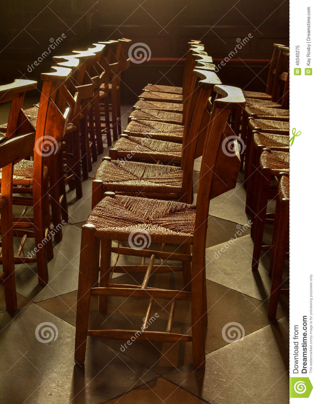 Rows Of Wooden Church Chapel Chairs With Rush Seats Inside