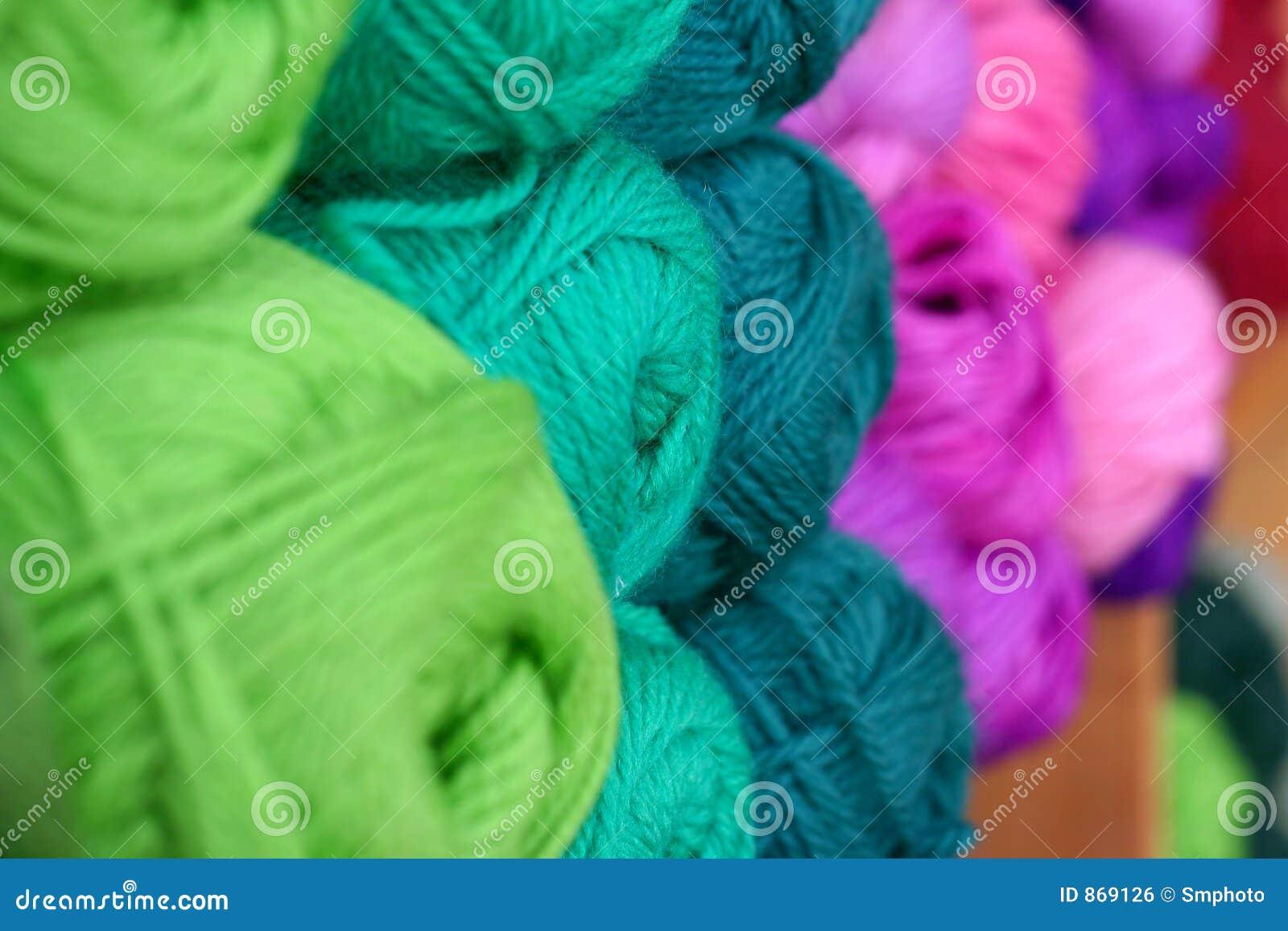 Rows of yarn