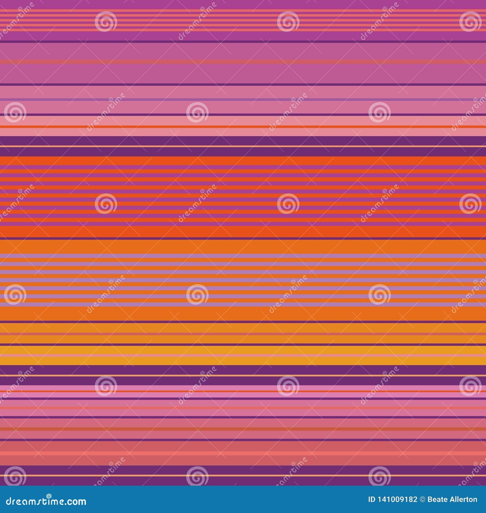 Roxo vibrante, rosa e projeto densamente listrado alaranjado Teste padrão sem emenda do vetor com impressão brilhante da praia Gr