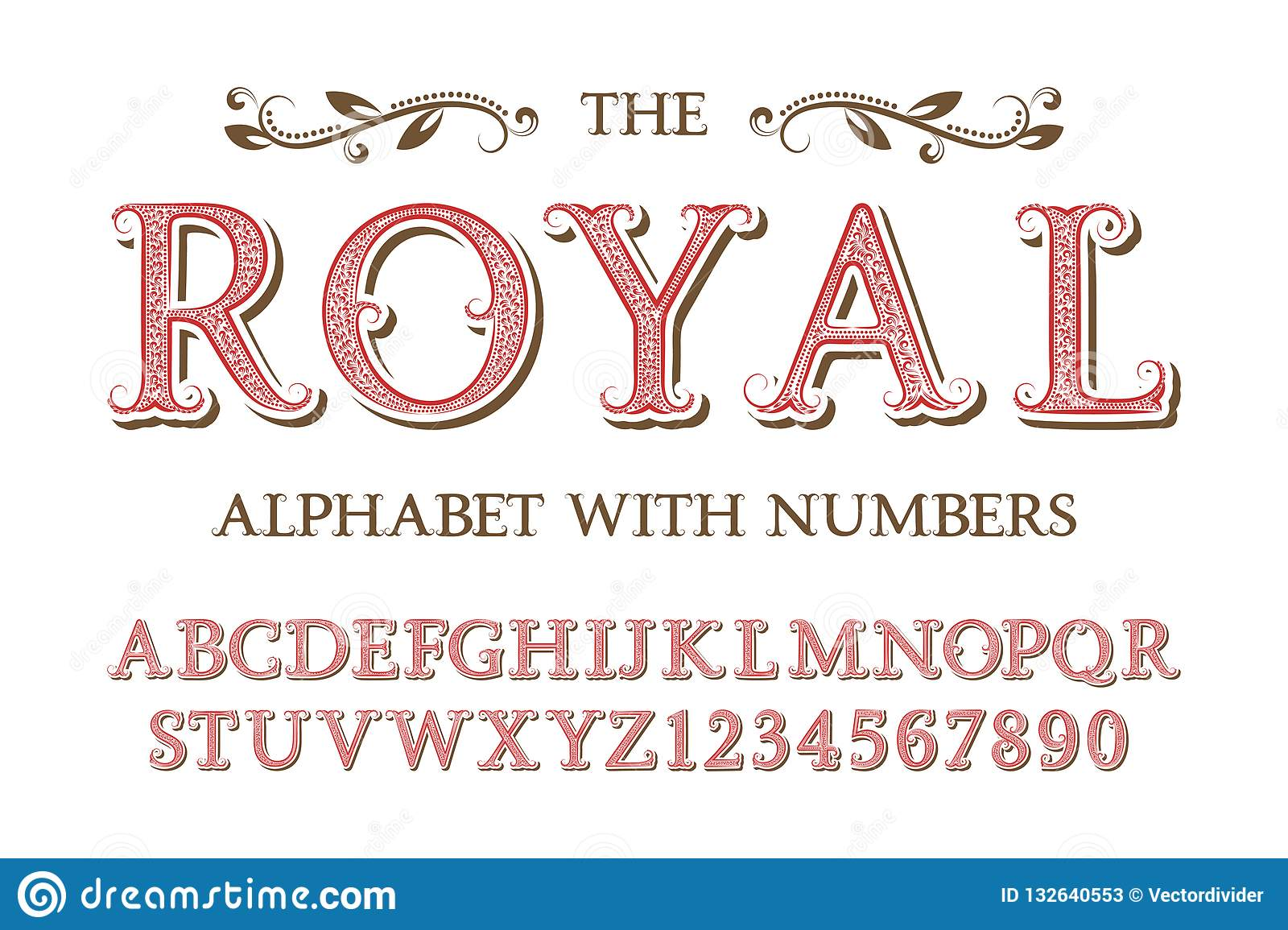 Royal Alphabet With Numbers In Old English Vintage Style