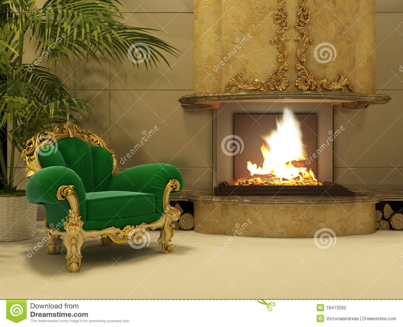 royal armchair by fireplace in luxury interior stock illustration