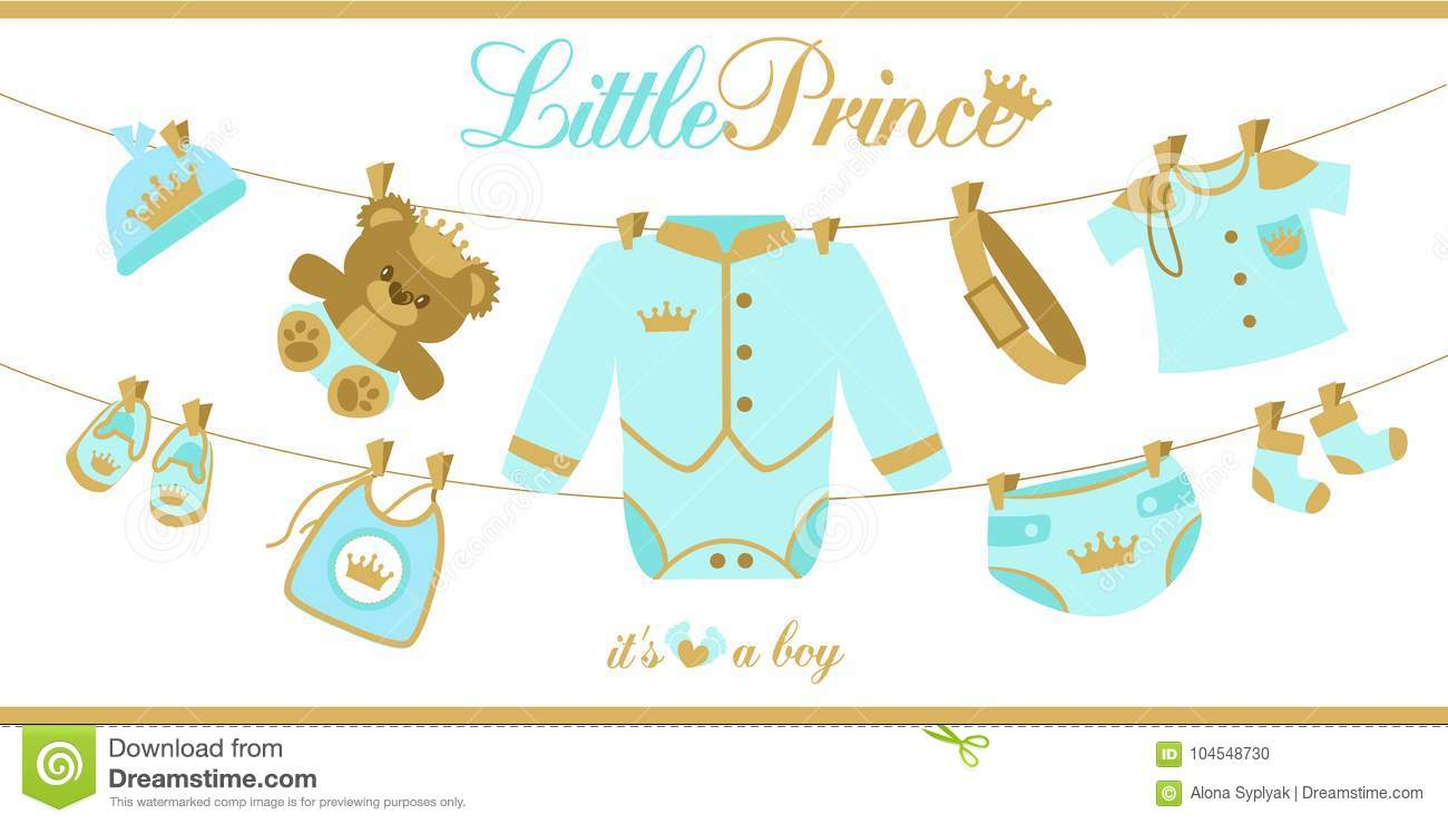 Royal baby boy shower card. Baby clothes hanging on a rope