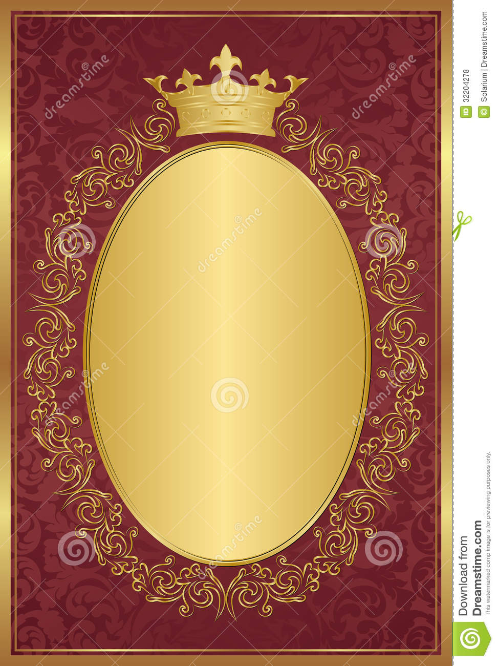 Red background with decorative golden frame and crown.