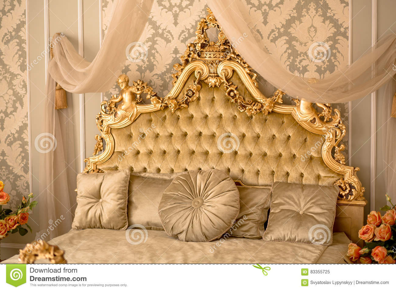 Royal bedroom interior stock image. Image of antique - 83355725