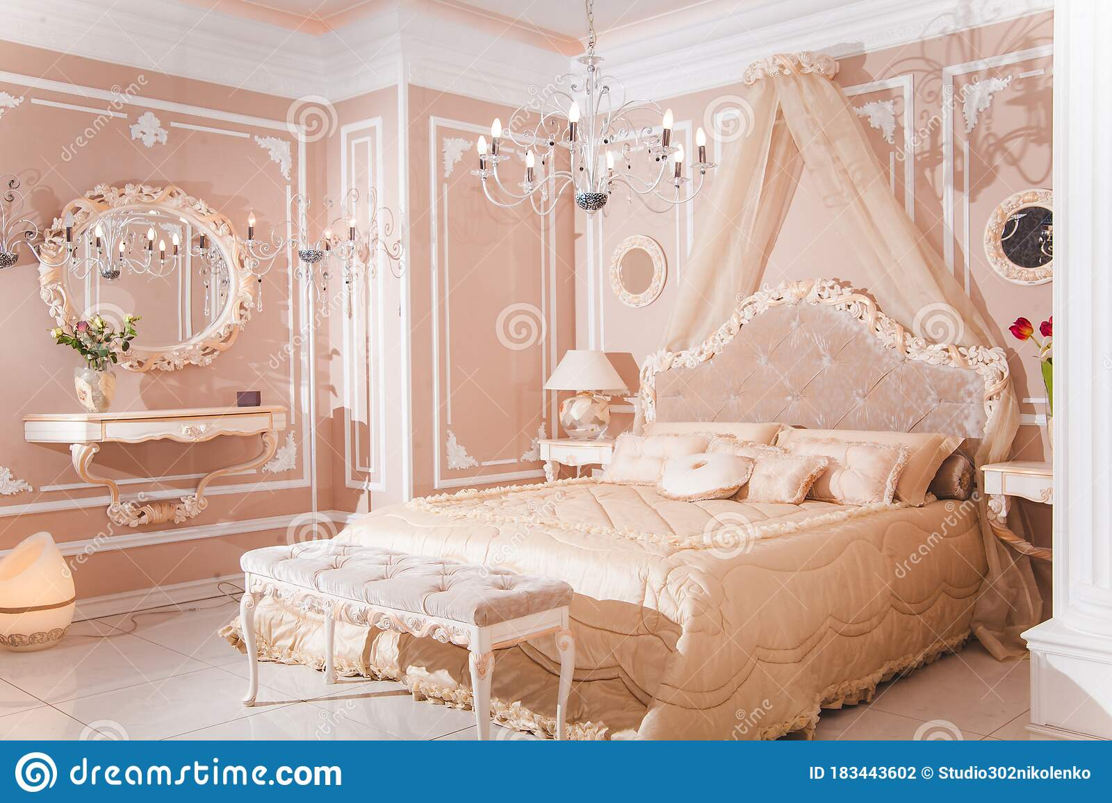 Royal Bedroom In Pastel Colors Classic Style Stock Photo Image Of Interior Decorating 183443602