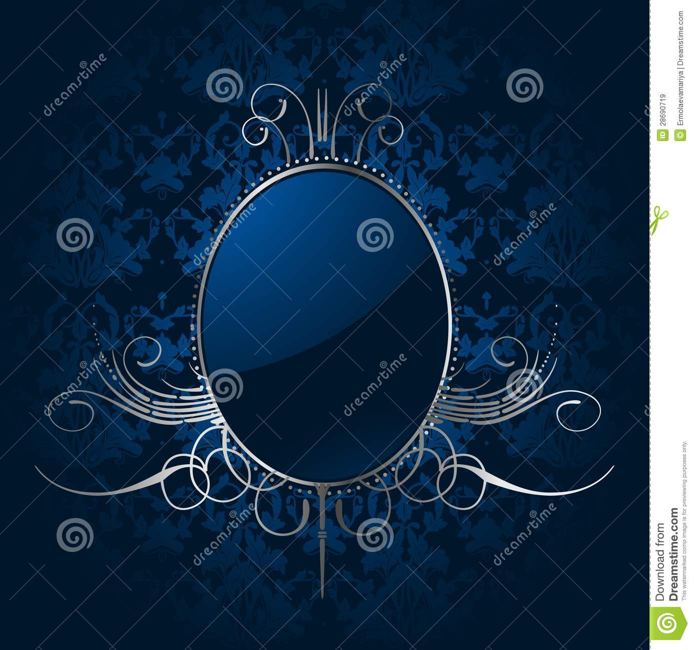 Royal Blue Background With Silver Frame Vector Stock Vector