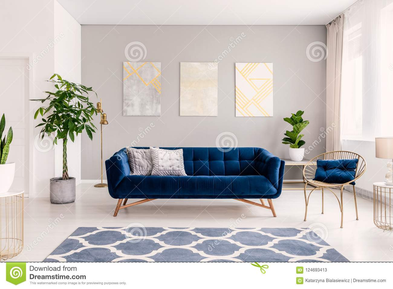 Royal Blue Couch With Two Pillows Standing In Real Photo Of Bright Living Room Interior With Fresh Plants Window With Curtains T Stock Image Image Of Flat Lounge 124693413