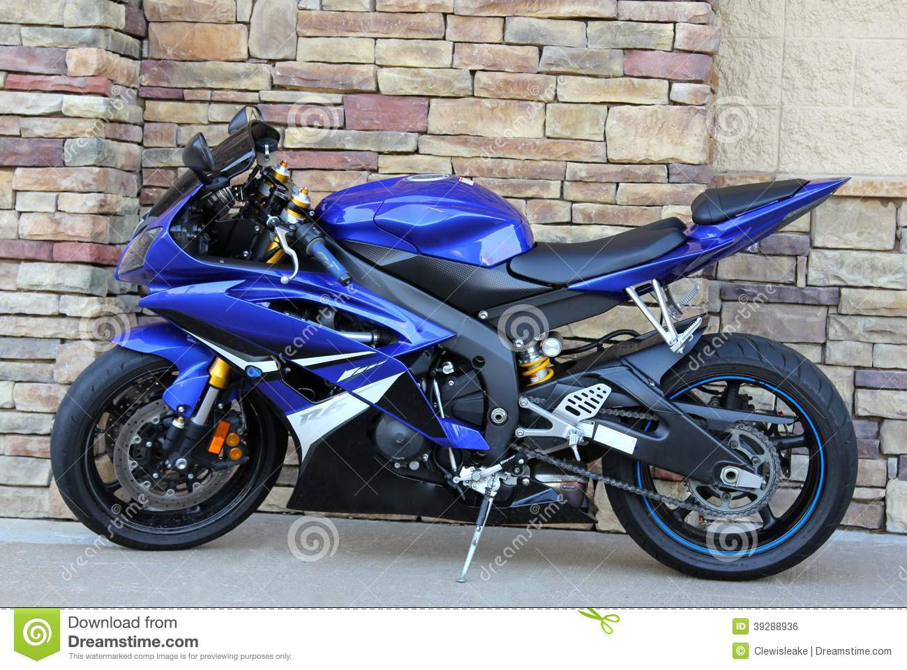 royal blue motorcycle cobblestone background editorial