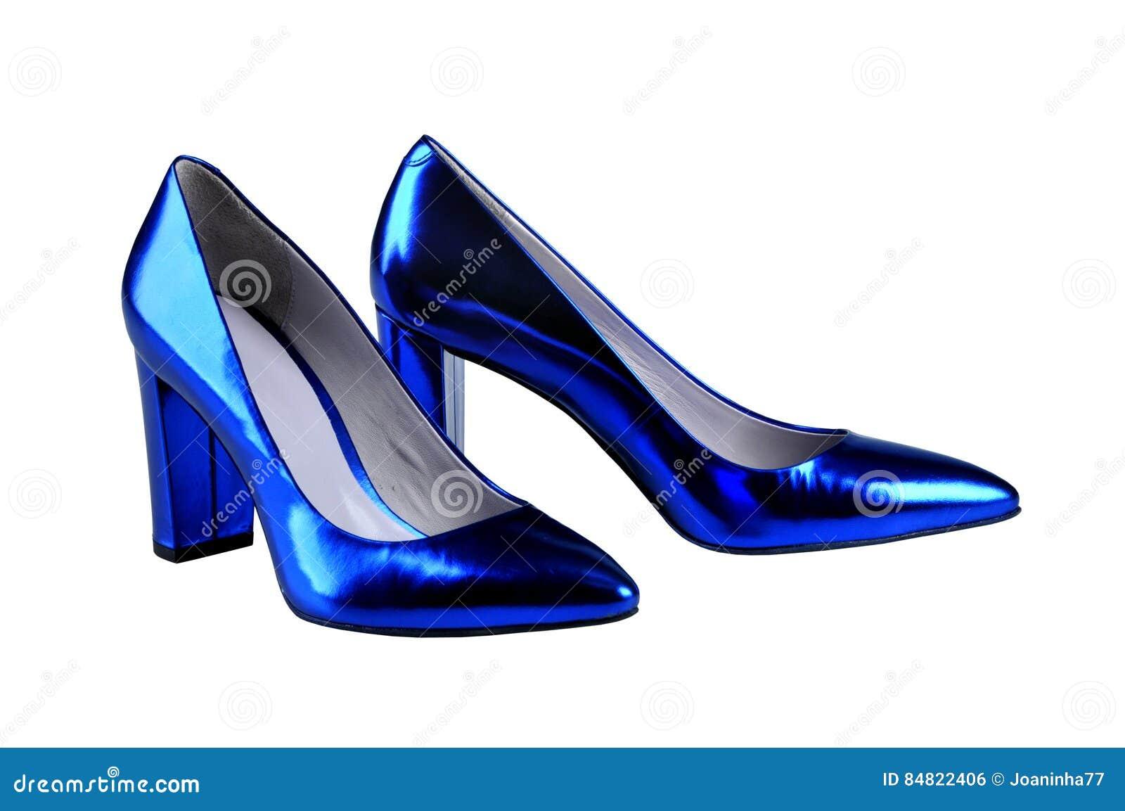 Royal Blue Women`s Patent Leather Shoes