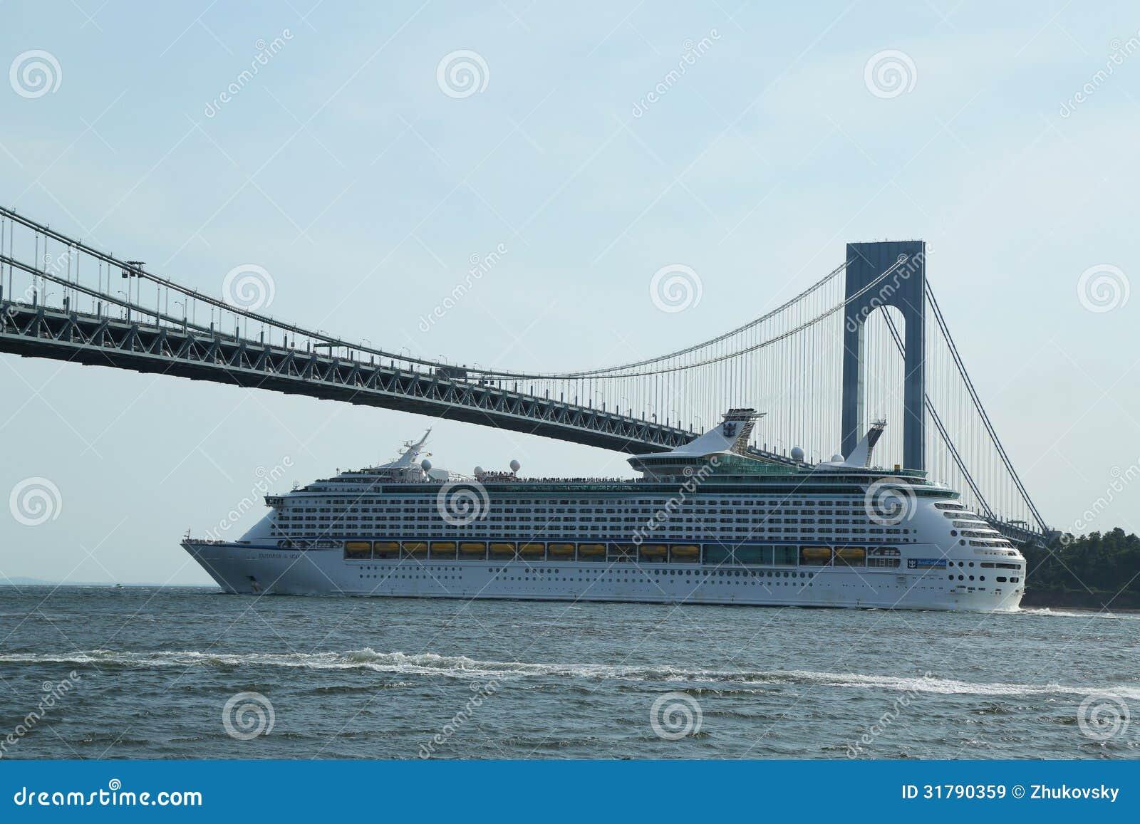 Royal Caribbean Explorer Of The Seas Cruise Ship Under Verrazano Bridge Editorial Stock Image