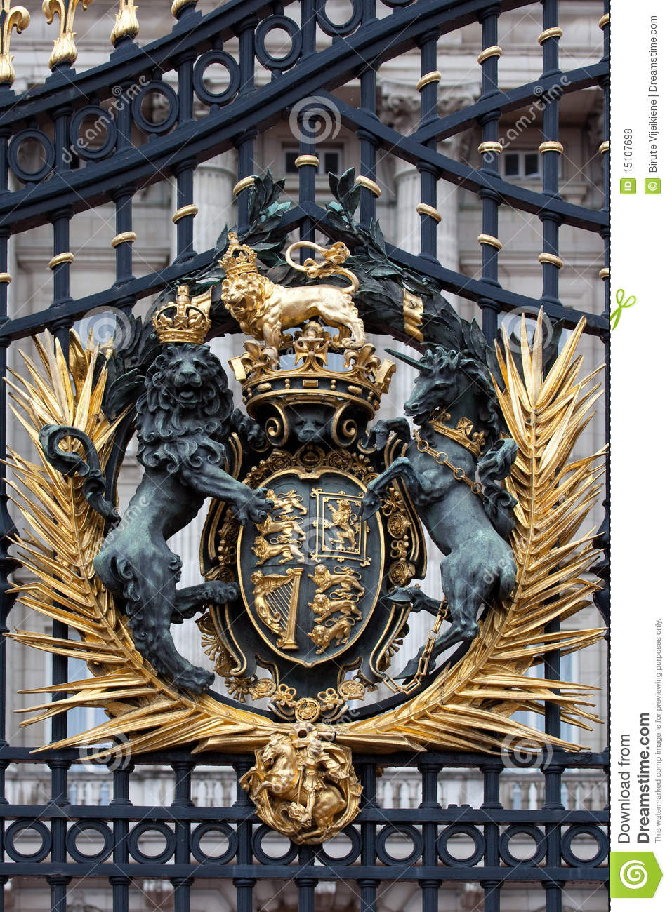Royal Crest At Buckingham Palace Gate Stock Photo Image
