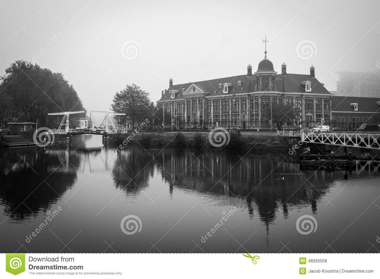 Royal dutch mint rijksmunt building utrecht in black and white on a foggy day