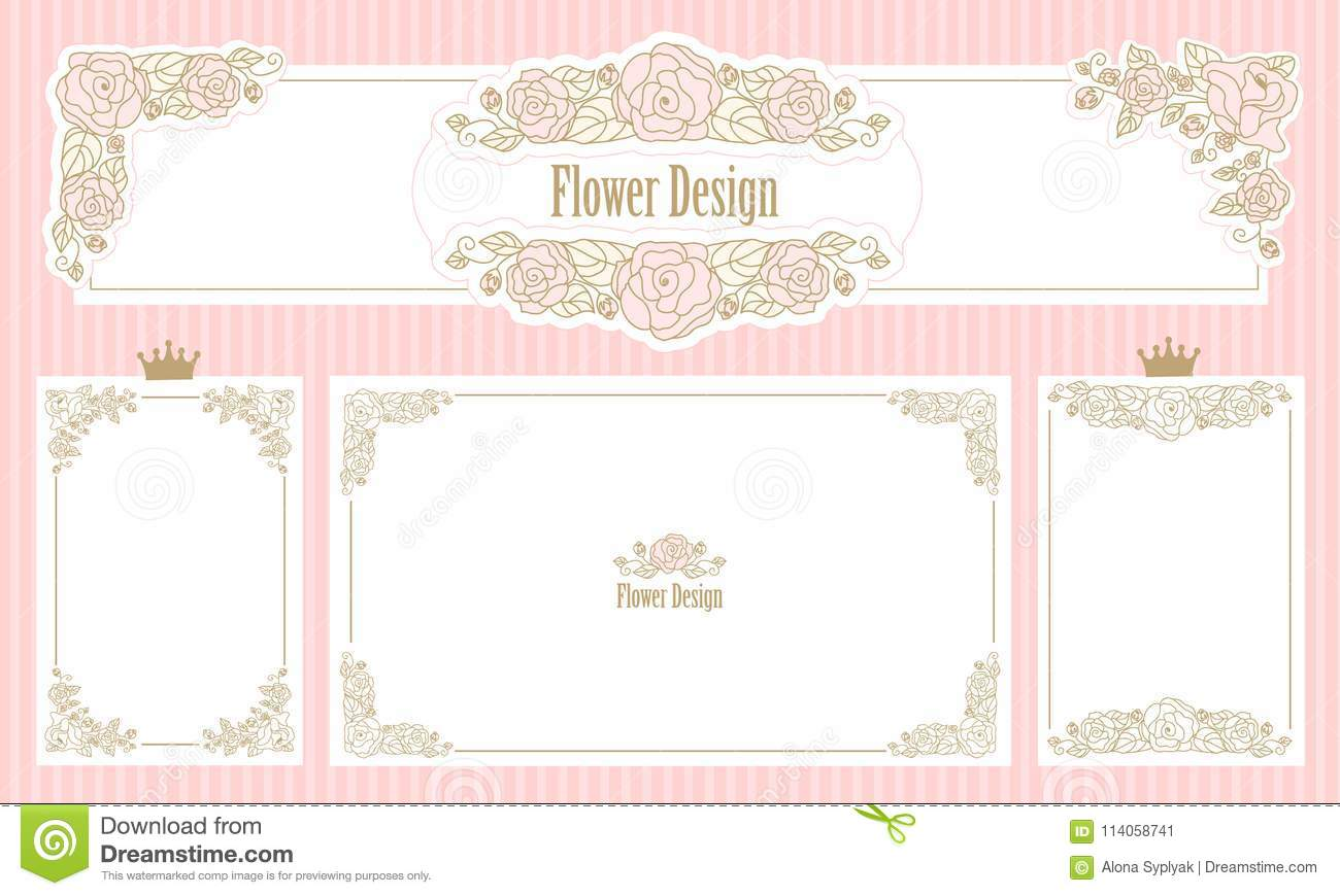 Royal Floral Frame. Set Of Flower Borders. Vintage Wedding ...