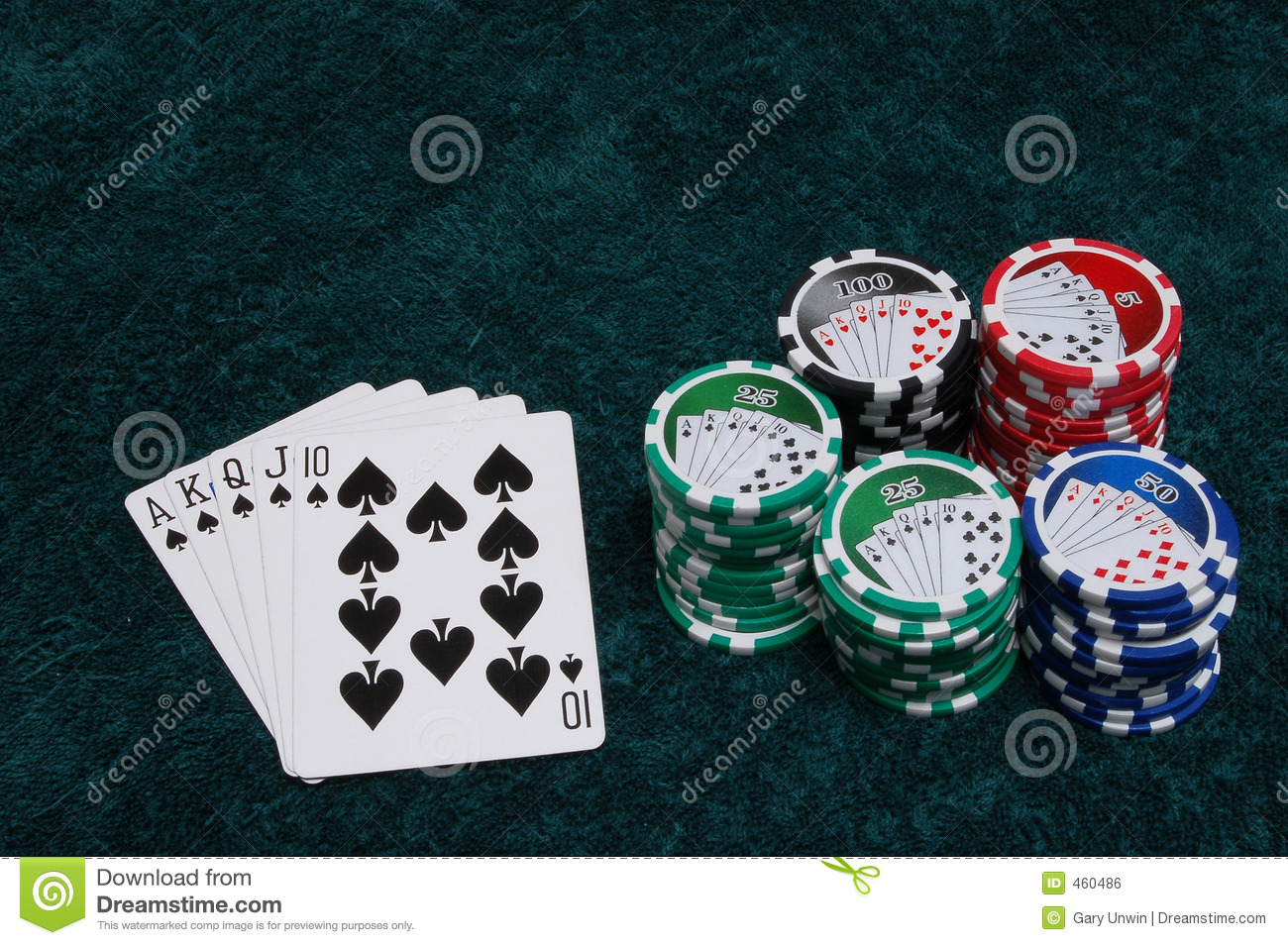Download Royal Flush and Chips stock photo. Image of black, gray - 460486