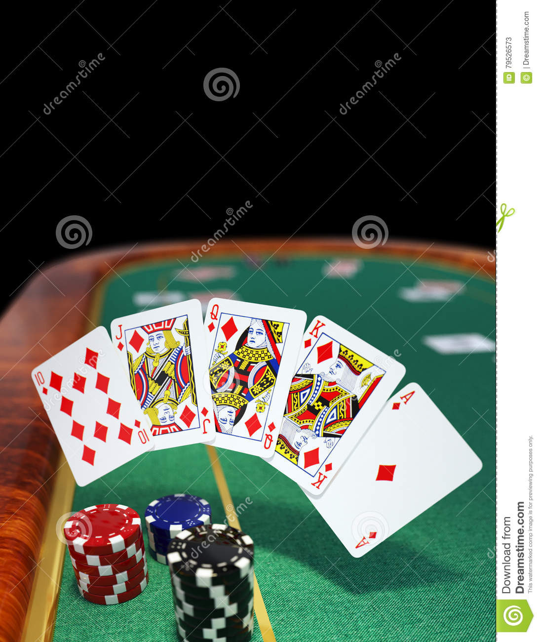 Royal Flush On Green Poker Table Stock Image Image Of