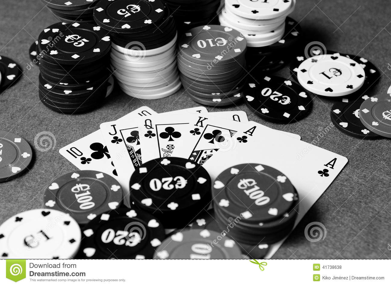 royal flush in poker in black and white stock photo poker chips vector clipart poker chip vector tutorial
