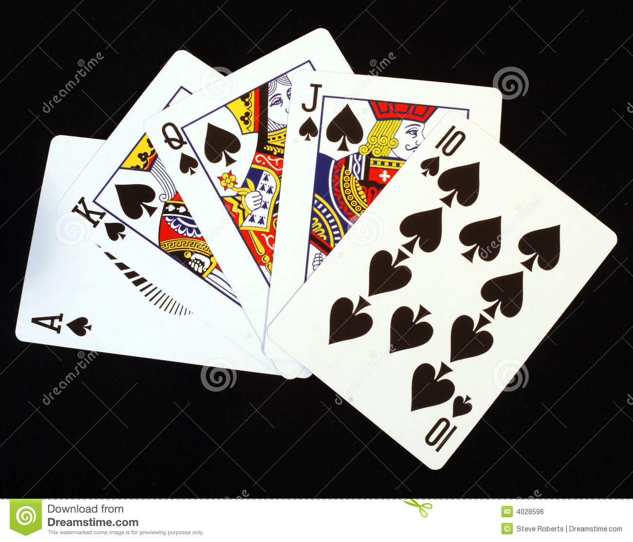 Royal Flush In Spades stock photo. Image of chance, face