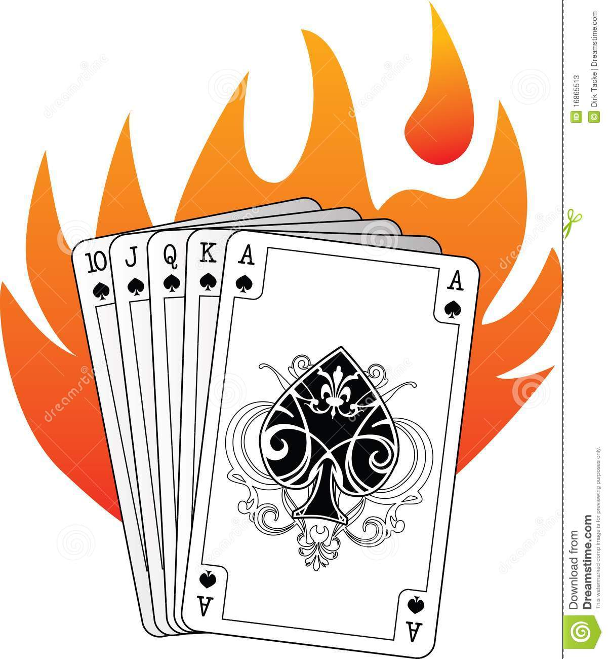 Royal Flush In Spades With Flames Stock Photos - Image ...