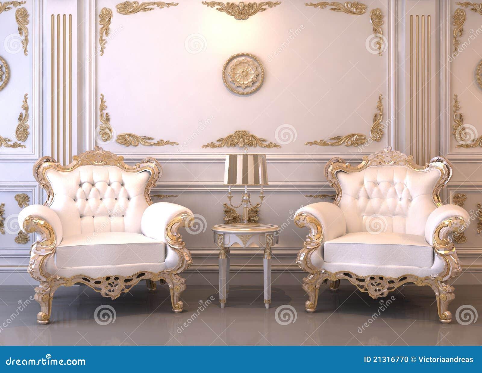 Royal Furniture In Luxury Interior Stock Illustration Illustration
