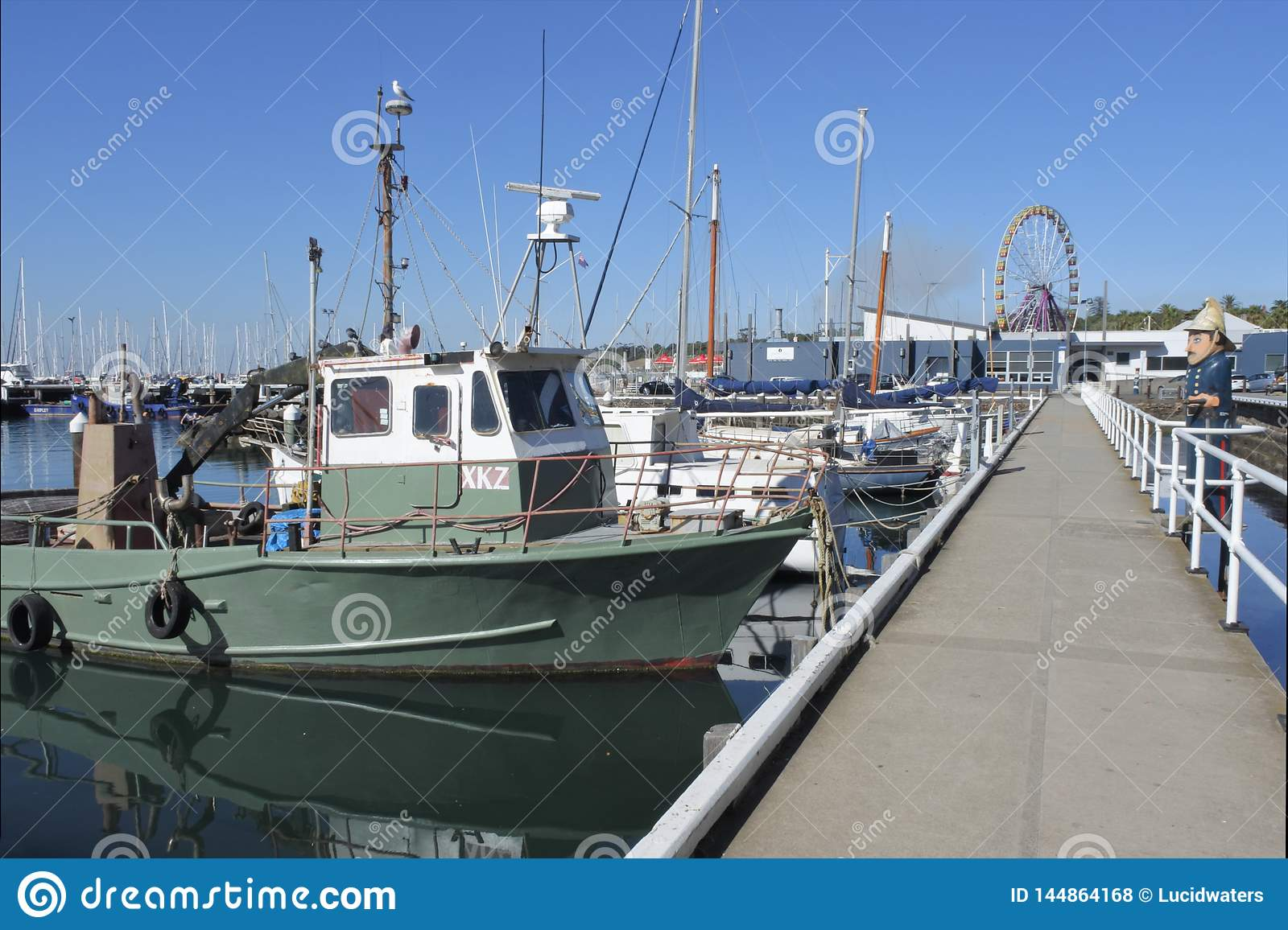 Boats moored on Geelong waterfront Melbourne Victoria Australia