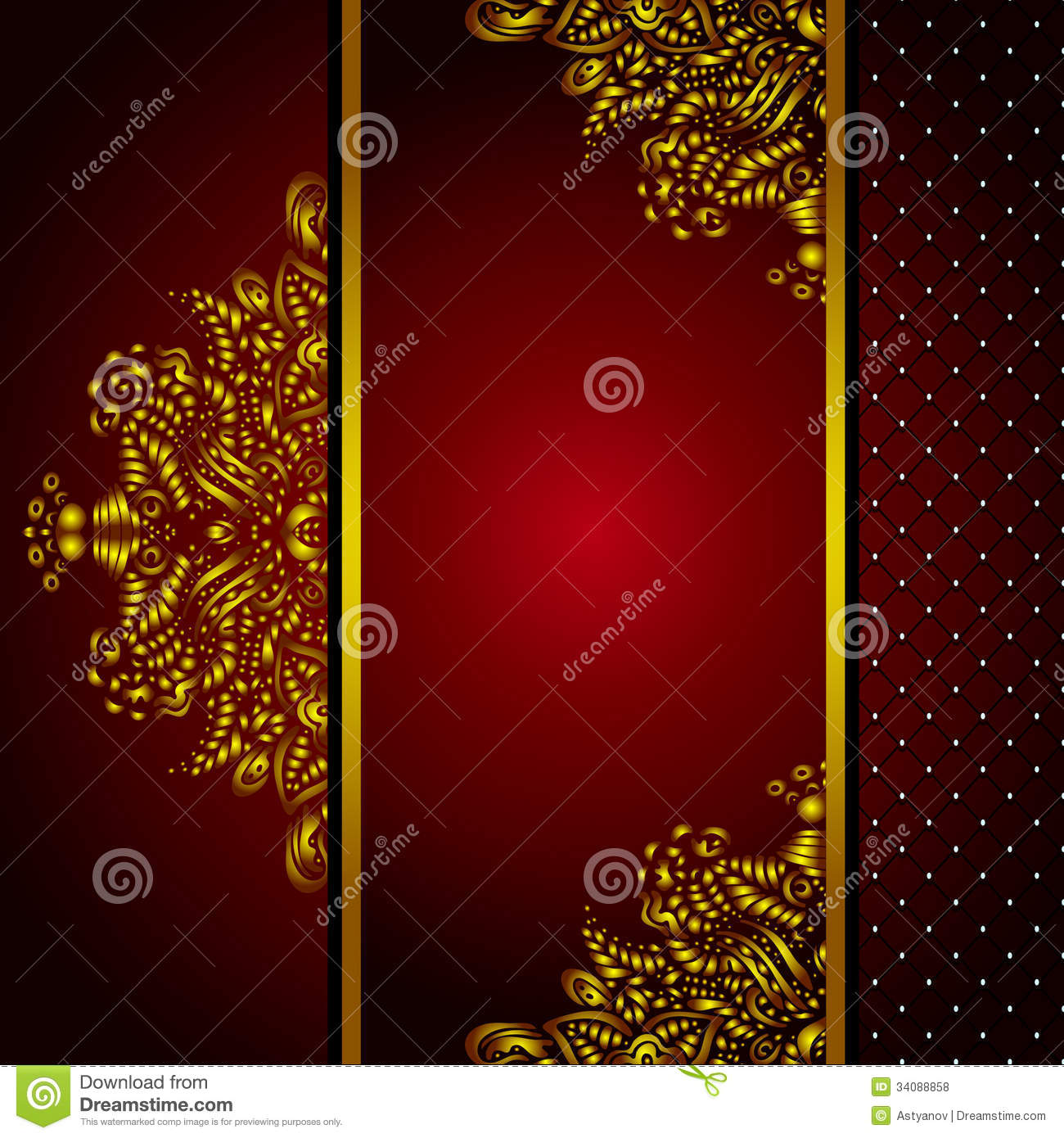 Royal Golden Frame Menu Card Vector Stock Illustration