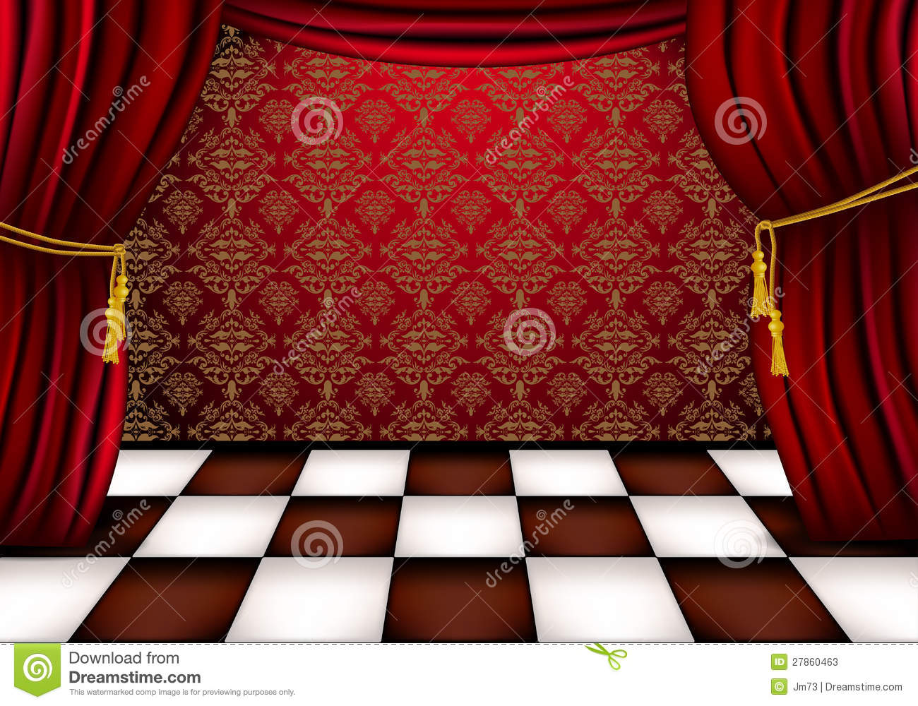 Royal Hall With Red Curtains Stock Vector Illustration