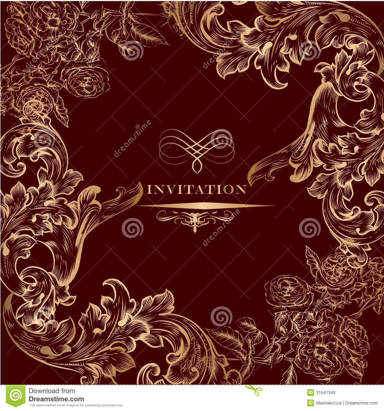 Royal invitation card with golden vintage ornament stock vector royal invitation card with golden vintage ornament stopboris Image collections