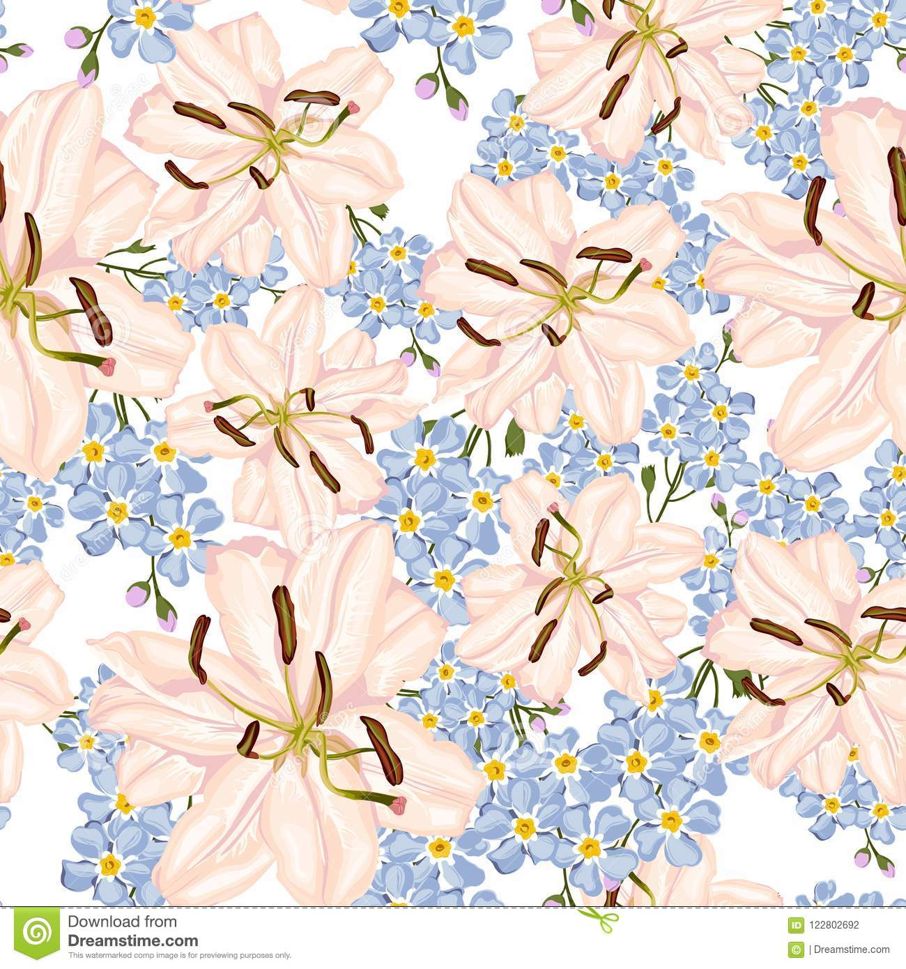 Royal Lilies Christmas Winter Rose Floral Seamless Pattern Texture
