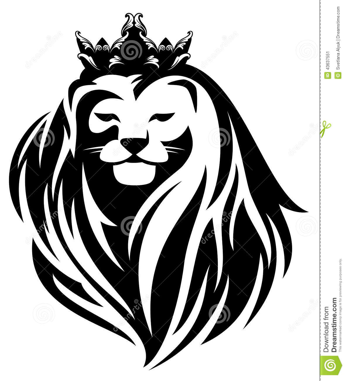 Royal lion with crown - animal king head with long mane black and ...
