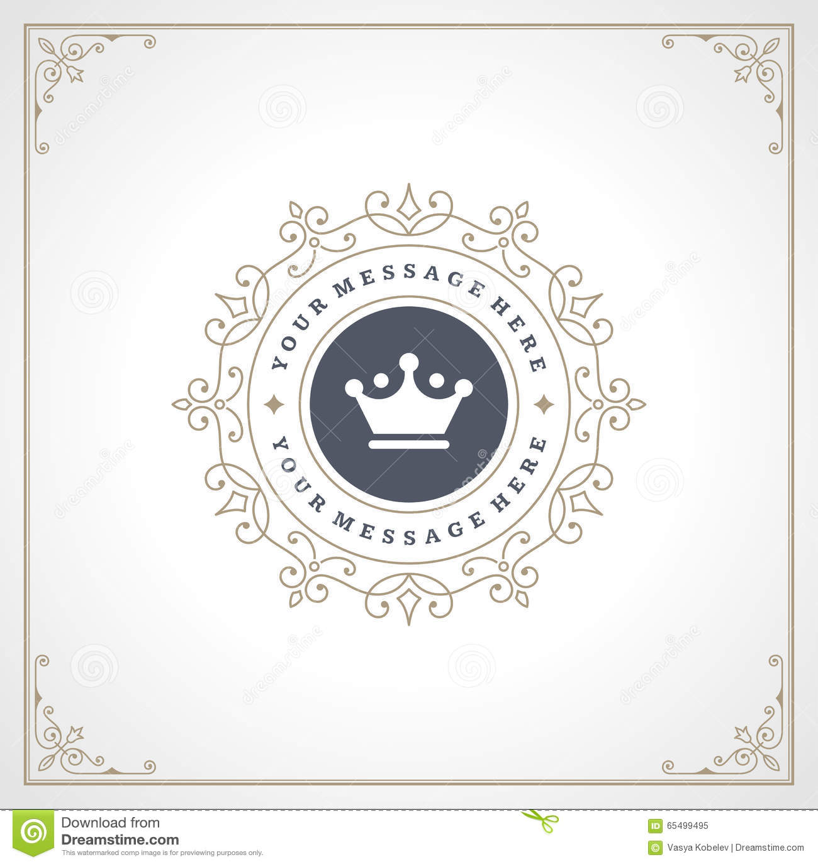 royal logo design template flourishes stock vector image 65499495. Black Bedroom Furniture Sets. Home Design Ideas