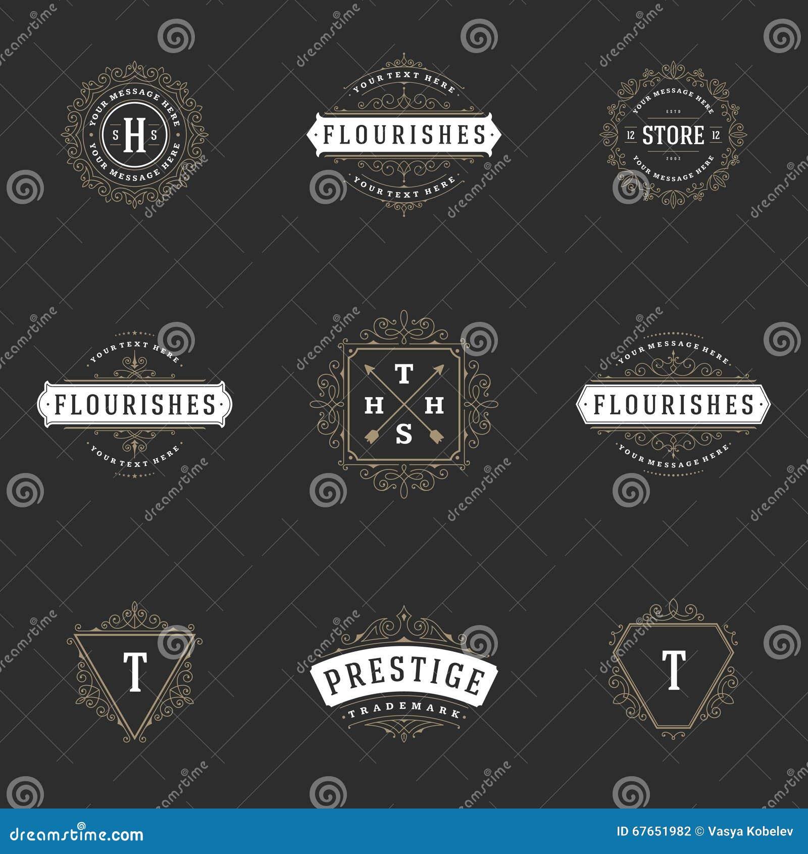 Royal Logos Design Templates Set. Flourish Calligraphic Elegant ...