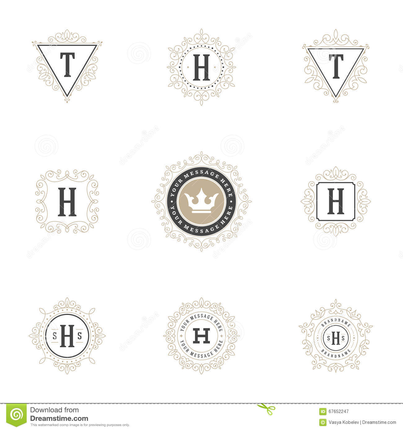 Royal Logos Design Templates Set Flourish Calligraphic Elegant Ornament Lines