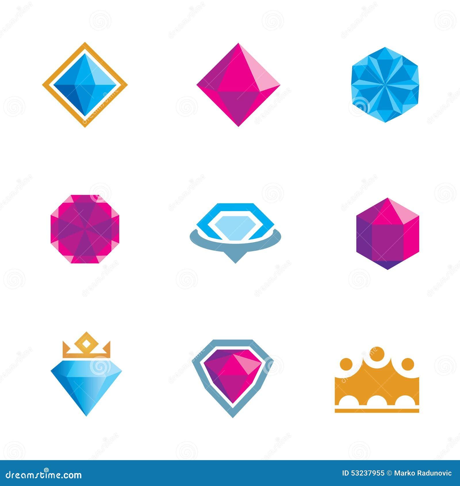 Crystal Gems Logo Icon: Royal Luxury Shine Diamond Gems Symbol Of King Rocks Logo