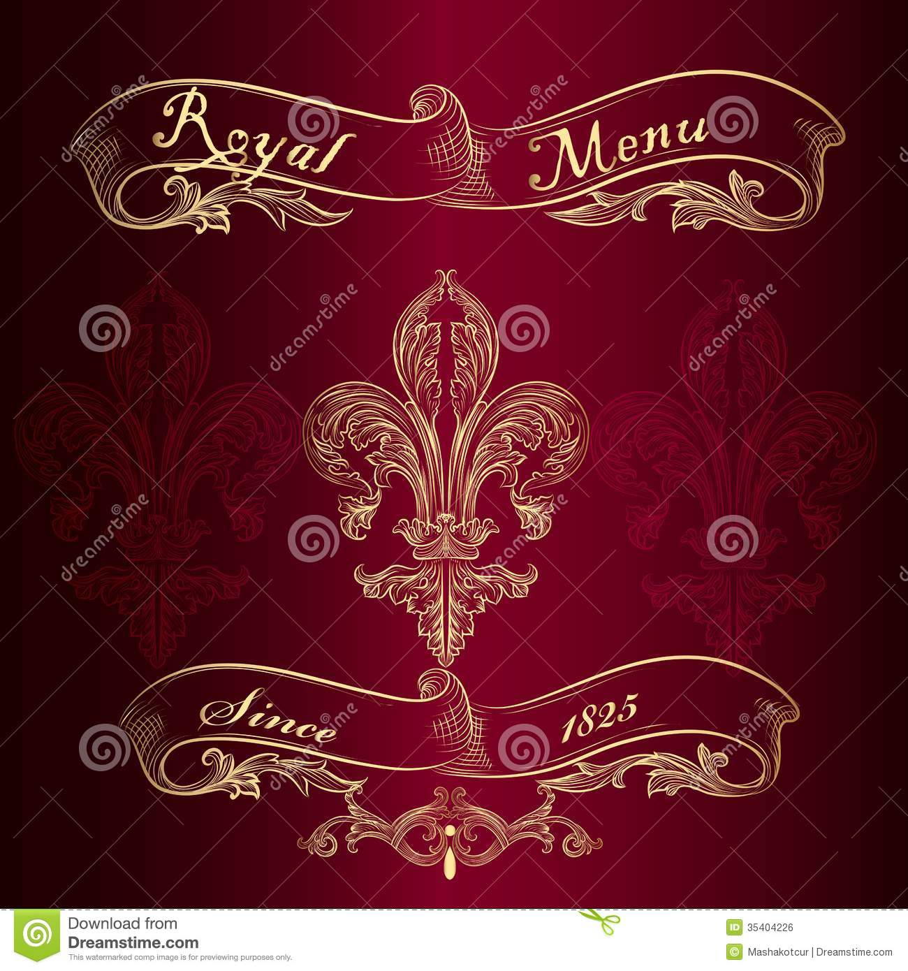 royal menu design with fleur de lis stock vector