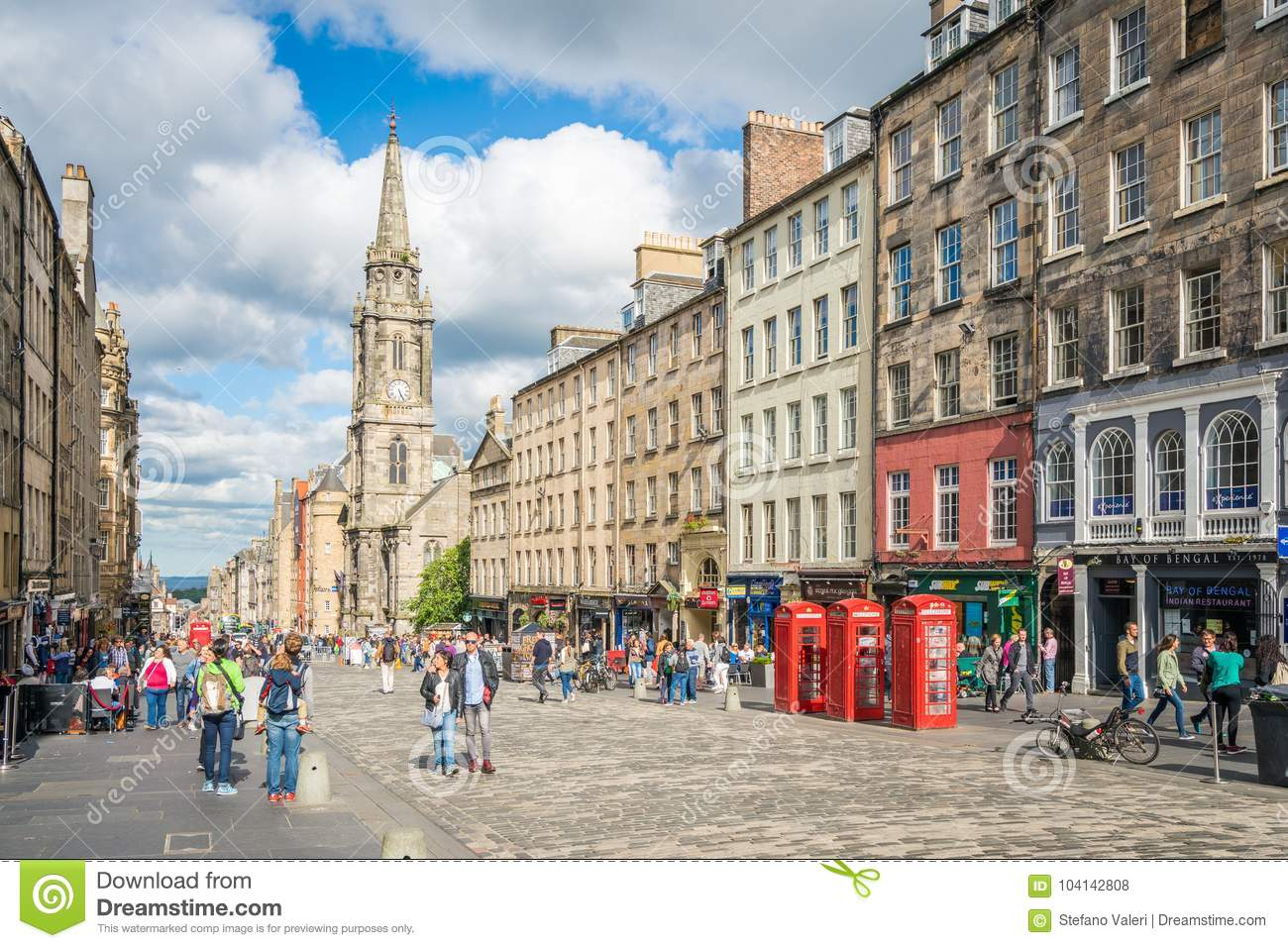 The Famous Royal Mile In Edinburgh On A Summer Afternoon Scotland