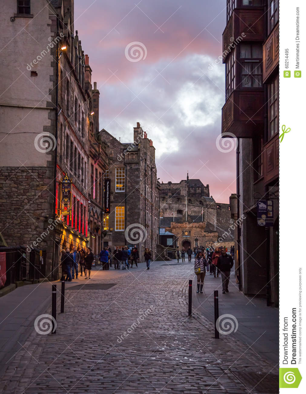 The Royal Mile Street At The Dusk Light Editorial Image