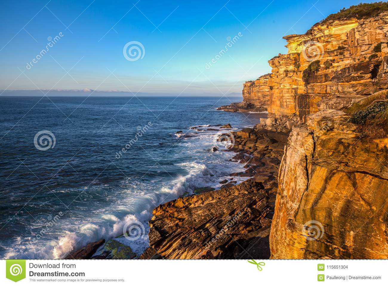 Royal National Park coast, New South Wales, Australia, in the morning.