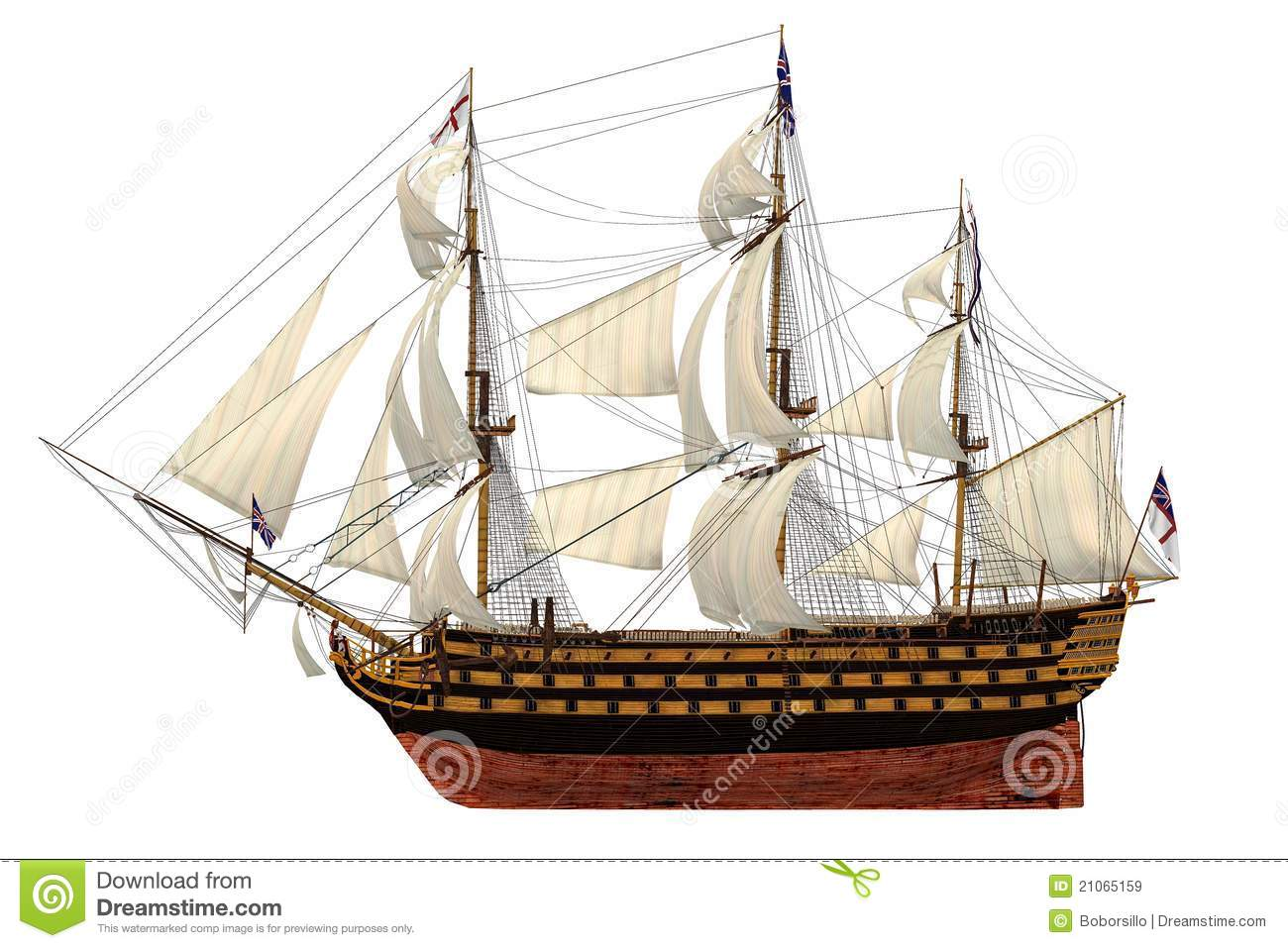 HMS Royal Navy style Tall ship built-in the 1700's. Isolated clip art ...