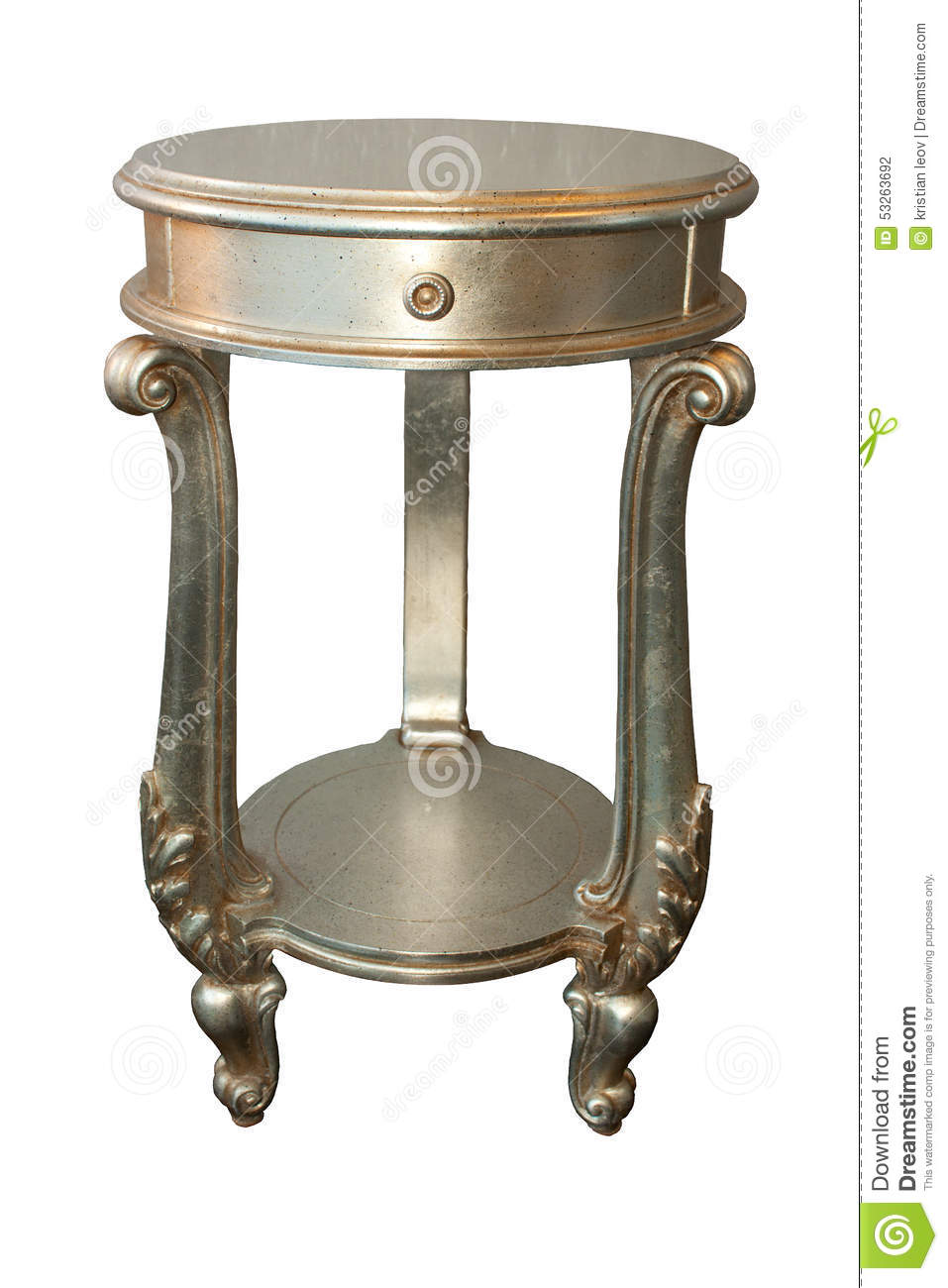 Royal Night Bed Side Table Of Wood With Silver Colour Design
