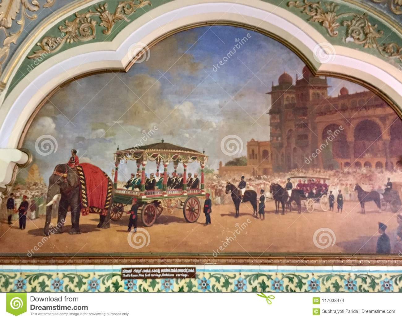 Elephant carriage and Nine seater carriage in the princely state of Mysore