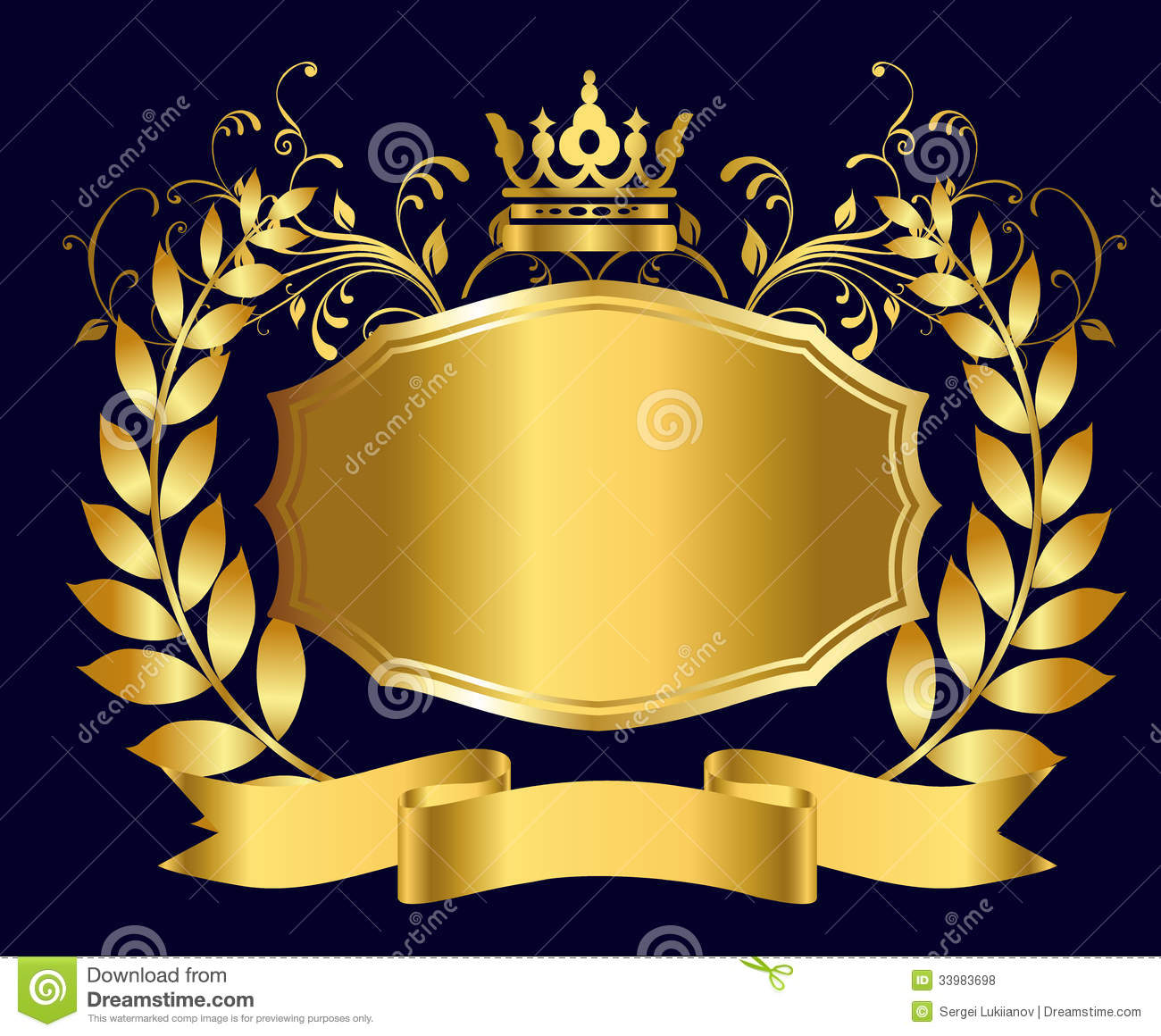 Royal Shield Of Gold Stock Vector Illustration Of Label 33983698